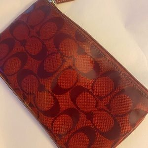 Shiny Red Coach Cosmetic Case